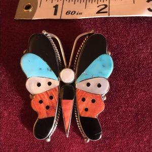 Zuni Native American Inlay butterfly brooch
